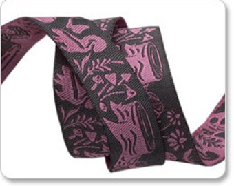 "TULA PINK 5/8"" reversible ribbon--Blush Meadow--Pink on Gray--price is per yard"