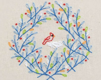 SALE--TWEET WREATH embroidery transfer by Penguin & Fish--instructions included
