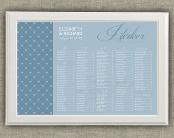 Wedding seating chart - Romantic reception guests list with hearts frame - Personalized Printable