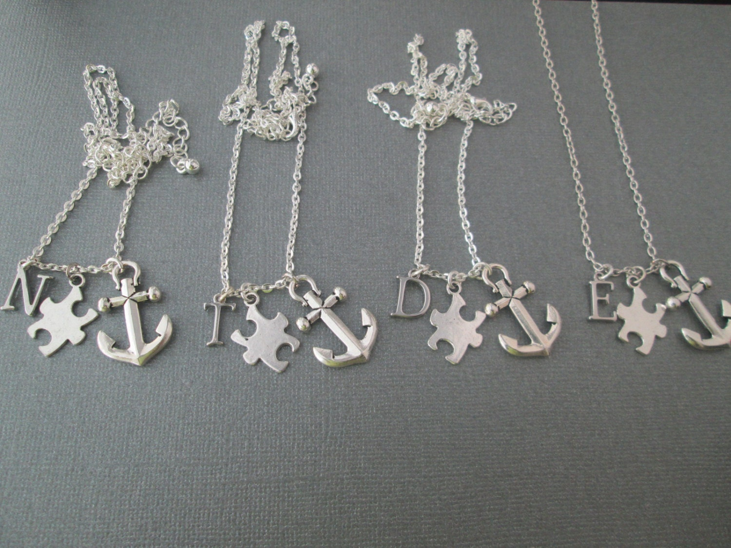 4 best friends necklaces puzzle anchor initial by