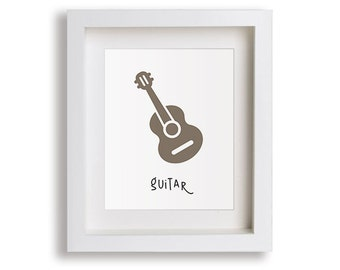 NEW Guitar Nursery Art Print - Musical Instruments, Music Nursery, Children's Decor, Baby Nursery, Kids Wall Art, Playroom, Toddler Room