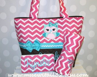 XL Quilted Hot Pink Chevron / Brown / Owl Applique Diaper Bag Set - Changing Pad - Wipes Case