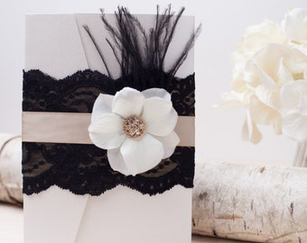VINTAGE GLAMOUR: Black Lace Wedding Invitation, Feather Wedding Invitation, Flower Invitation, Old Hollywood Invitation