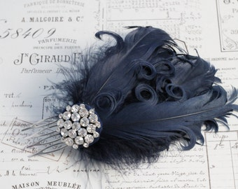 Navy feather hair comb , Curly feathers -Wedding hair-1920s flapper style -Bridal Hair Accessories , wedding  headpiece black or ivory.
