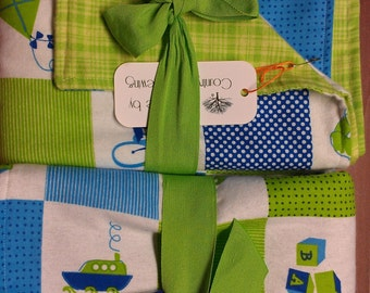 Extra Large Reversible 2 sided receiving blanket  Twin boys blanket
