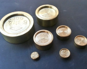 weight balance set in brass balance weight in metal - set of 6 weights