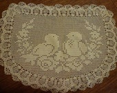 Vintage Crocheted Doily with Love Birds Motif