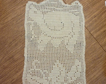 Vintage Ecru Crocheted Doily with Turtle  Motif