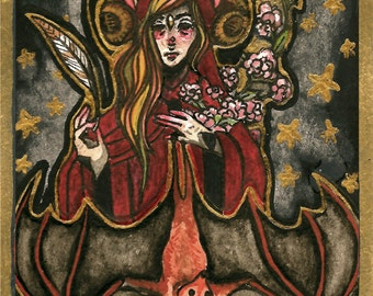 Halloween Saint with golden bitty bat and flowers greeting card or print