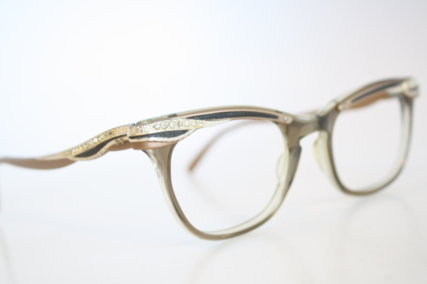 Black Cat Eye Reading Eyeglasses Vintage Eyewear Retro Glasses