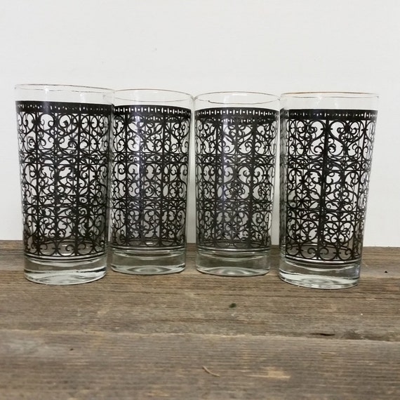 Vintage Drink Glasses Mid Century Tall Gold/Black Graphic Hi Ball Glasses Set 4