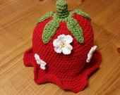 SALE! Ready To Ship Baby Crocheted Hat! Crocheted Strawberry Hat, Toddler/Preschooler Size Baby Girl Crocheted Hat, Baby Girl Hat