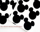 100 Mickey Mouse Black Glossy VINYL STICKERS  Seals - 1 inch