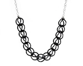 Oxidized Silver Bib Necklace Black Chain Necklace