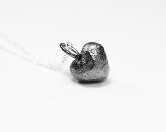 Black Heart Silver Necklace / Black Heart Pendant / Black Heart Charm