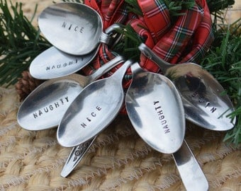 NAUGHTY or NICE Napkin Holder Vintage Hand Stamped Bent Spoons Set of 6-Perfect for the Christmas Table