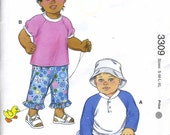 KS 3309 Sewing Pattern for Baby and Toddlers - Kwik Sew Pullover Shirts with Long Sleeves, Pull on Jeans with Fake Fly
