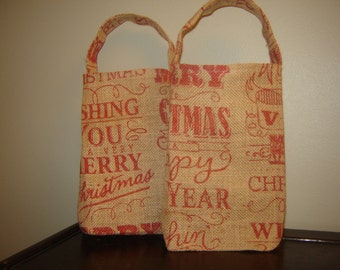 Burlap MERRY CHRISTMAS -  HAPPY New Year Gift Bags