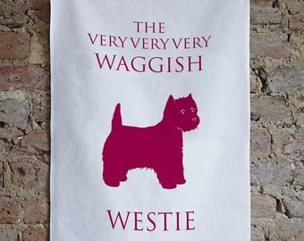 West Highland Terrier (Westie) Tea Towel, Westie gift, westie design