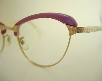 American Optical Frames AO 1/10-12K GF Lucite Frosted Dusty Rose Cat Vintage Eyeglass New Old Stock Etched Bridge & Arms Deco SMALLER Size