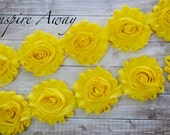 Bright Yellow Shabby Chiffon Flower Trim - Your choice of 1 yard or 1/2 yard -  Chiffon Shabby Trim, DIY headband supplies, fabric flower