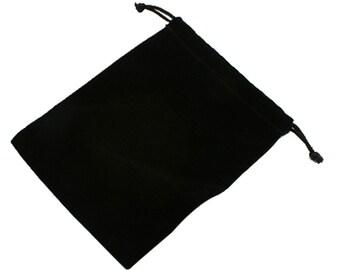6 Black 4.5x4 inch velvet small gift bag pouches-9583