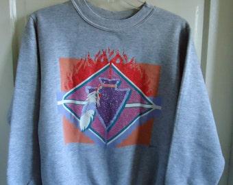 Vintage 80s/90s Feather Arrowhead Crewneck Sweatshirt sz S