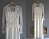 70s Ivory Lace Maxi Dress XS