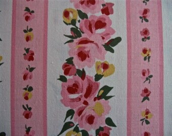 "Vintage Pink Roses and Stripes Print Fabric 3 1/3 yards long by 58 "" wide"