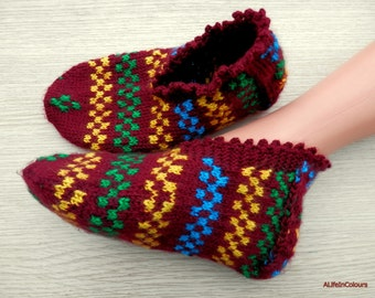 Turkish Anatolian hand knitted women's unique and warm slippers, slipper socks, house shoes, house socks.