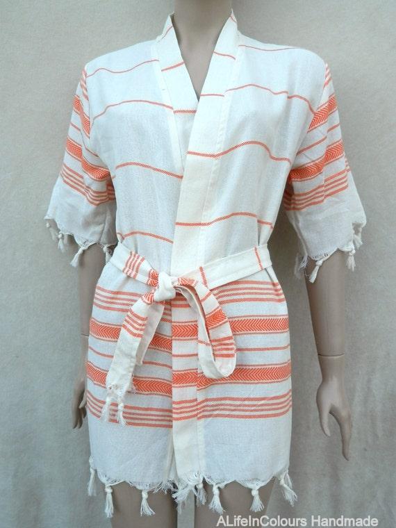Peignoir de la femme turque peshtemal coton kimono style robe for Peignoir piscine