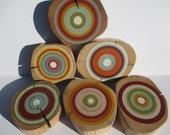 Modern Wood Wall Art made from Reclaimed Barn Beams - Hand Painted Harmony- Set of 6  (6RWWABB/HARMONY)