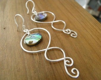 "Earrings... ""Night's Tide"" handmade and hammered sterling silver earrings with abalone shells."