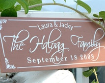 Personalized Family Name Sign Plaque Custom Made 8x22 Solid wood Family sign, wedding or anniversary gift 016