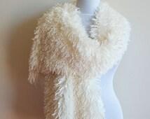 Ecru Tibet Scarf,  Tibet Shaggy Fluffy Curly Polyester Hair Fur Lamb Scarf, Women Scarf,  Loop Scarf, Chunky, Scarves,  Women Accessories