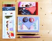 Jane Austen set: postcards, cards and 2 pins.