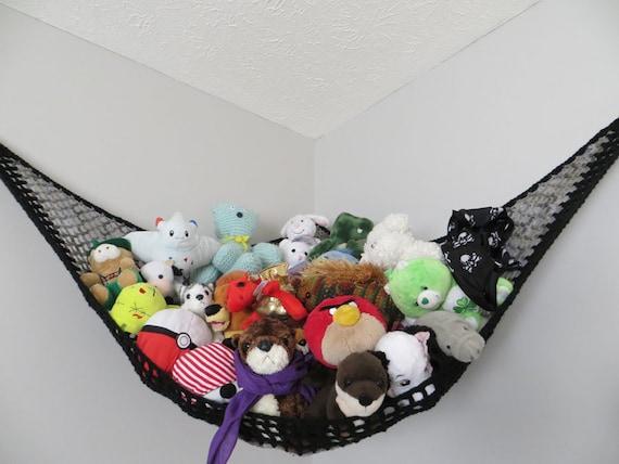 Net Toy Holder : Large crochet toy net stuffed animal storage in gray shades