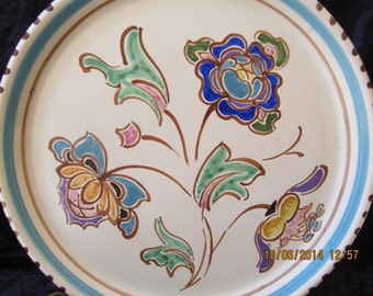 Art Deco Honiton Pottery Devon England Post-Modernist Plate Signed By Artist