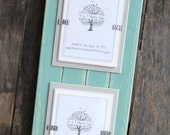 Picture Frame - Distressed Wood - Double Mats - Holds 2 - 5x7 Photos - Beach Teal, Light Gray & White