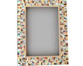 Mosaic Mirror in Browns, Teals, Oranges // Multicolored Home Decor // Handmade Wall Mirror