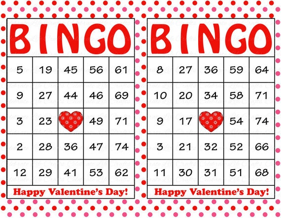 Simplicity image for printable valentine bingo card