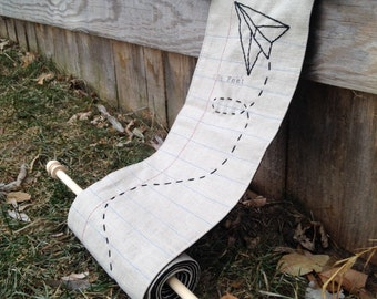 Child's fabric growth chart, linen with paper airplane embroidery notebook paper