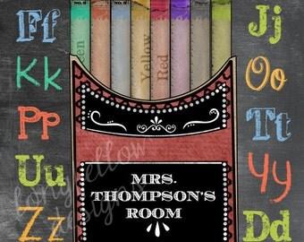 Customized Teacher's Gift - Chalkboard Look 11 x 14 Print with Vintage Chalk