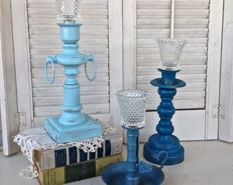 Vintage Chunky Candle Holders w/Hobnail Glass Cups