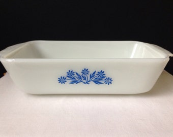 Fire King - Blue Corn Flower - Loaf Pan - White and Blue - Bake Ware