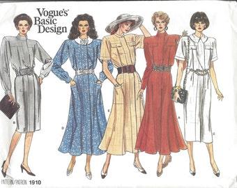Vogue Basic Design Patterns 1980's Vintage Five Dresses Pattern Multi-Sized, Misses and Petite Unused