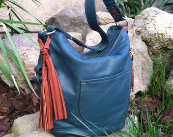 Hunter green leather hobo bag, handmade purse with tassel, sujey