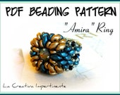 "Tutorial  ""Amira"" Ring - Superduo - Pdf Beading Pattern"