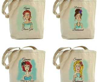 Custom Bridesmaids Cartoon Portrait Tote Bags//Personalized Bridesmaids Tote Bags/Thank You Gift for Bridesmaids/Bridal Party/ Gift Bags