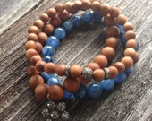 Sandalwood Beads and Pave Diamond Bead and Spacer Beads Stretch Bracelet Beaded Boho Bracelet